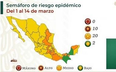 Campeche pasa a color verde en semáforo epidemiológico; no hay estados en rojo