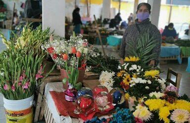 VENDEDORA DE FLORES EN ZONGOLICA SE QUEJA DE LAS BAJAS VENTAS.