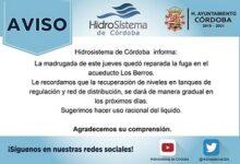 En Córdoba, reparan fuga de agua en acueducto los Berros y recomiendan cuidar el agua mientras se regulariza el servicio