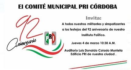 Convoca el PRI en Córdoba a evento masivo sin importar la crisis por la pandemia