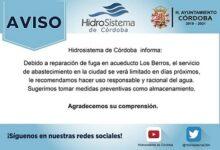 Se limitará el servicio de agua en Córdoba