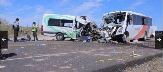Reportan al menos 16 muertos en accidente en Caborca