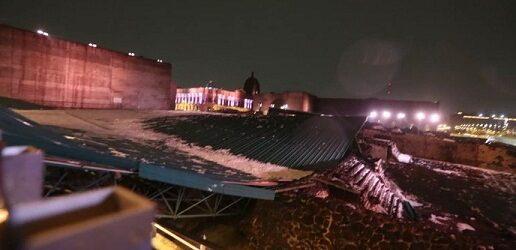 Colapsa estructura sobre Templo Mayor tras caída de granizo y fuertes lluvias