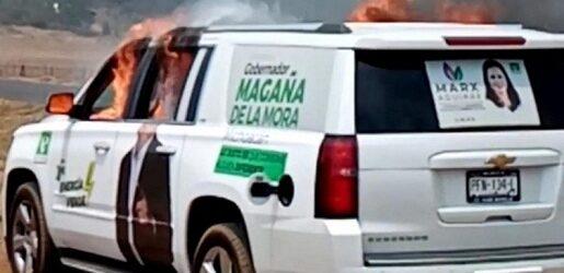 Grupo armado roba y quema camioneta del Partido Verde en Michoacán