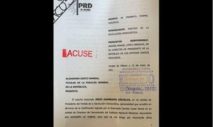 Presenta PRD denuncia contra AMLO por injerencia electoral