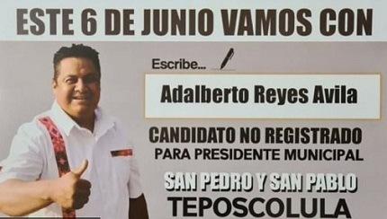 Adalberto Reyes, candidato sin registro en boleta electoral, gana presidencia municipal en Oaxaca