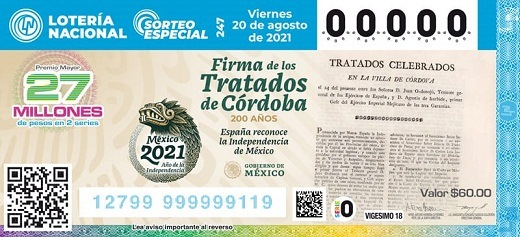 LOTENAL presentará billete de lotería alusivo al 200 aniversario de la firma de los Tratados de Córdoba
