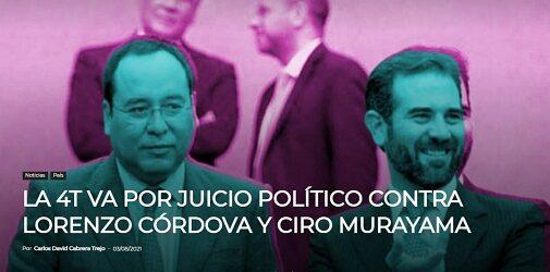 ENCONTRANDO CULPABLES…LA 4T VA POR JUICIO POLÍTICO CONTRA LORENZO CÓRDOVA Y CIRO MURAYAMA
