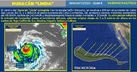 """Huracán """"Linda"""" se intensifica a categoría 3 en el Pacífico"""