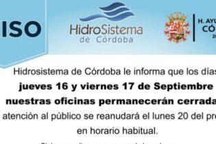 Aviso de Hidrosistema de Córdoba