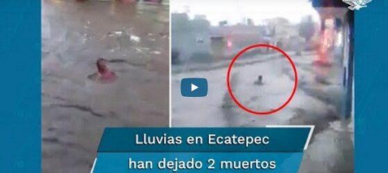 Captan momento en que una persona es arrastrada por inundación en Ecatepec