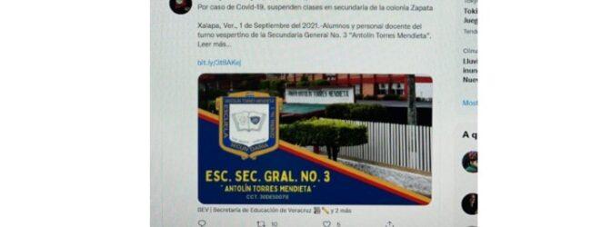 Padres de familia de la Secundaria General 3 de Xalapa no envían a sus hijos a clases al dar una maestra positivo de COVID-19