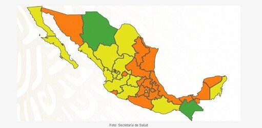 Ocho estados reducen riesgo y pasan a semáforo amarillo; hay 17 entidades en naranja